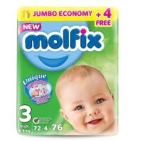 Shop now the top Molfix 76 Pcs Jumbo Pack Baby Diaper, Size 3 at best price in Pakistan with best shipping at your doorstep.